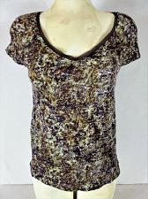 Buy VERA WANG womens Small petite S/S purple brown LACE TRIM COLLAR stretch top (B7)