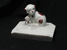 Buy Vintage Porcelain Dog and Puppy Figural Ashtray Snuffer Japan