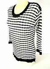 Buy Dana Buchman womens Medium 3/4 sleeve black white striped knit sweater (G)PMTD