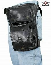 Buy Black Motorcycle Leather Zippered Multi Pocket Gun Holder Thigh Bag Compartments