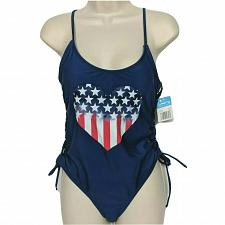 Buy NWT California Waves Red Heart Flag Lace Up One Piece Swimsuit Large Padded