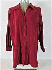 Buy ALL AMERICAN COMFORT womens Sz 20W L/S red faux SUEDE button DUSTER jacket (L)