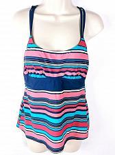 Buy Tropical Escape Women's Tankini Swimsuit Top Striped Multi-color Size 10
