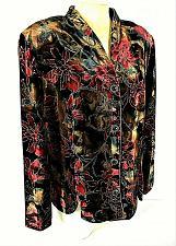 Buy DRESSBARN womens 18W L/S red black GOLD GLITTER faux SUEDE lined jacket (C5)