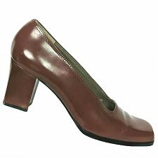 Buy Yves Saint Laurent Womens Brown Leather Block Pump Shoes Size 8.5 N