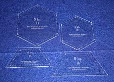 Buy 4 Piece Set Quilt Half Hexagons & Hexagons w/ Seam allowance & Guideline Holes