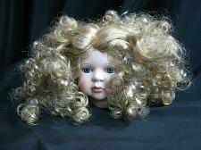 Buy Vintage Bisque Porcelain Doll Head Blue Glass Eyes Long Blonde Spiral Hair Curls