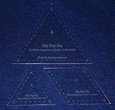 "Buy 3 Piece ""Zig Zag Zig"" Template Set. Clear 1/8"" Thick Acrylic"