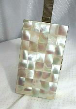 Buy Mother of Pearl Compact Minaudiere Vanity Case Purse Vintage MOP Checkerboard