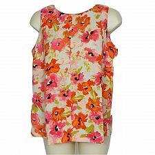 Buy Ann Taylor Loft Womens Petites Tank Top Size SP Floral Pink Orange Boat Neck