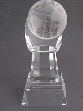 "Buy World Globe optical GLASS in hand 5.25"" high, Award Gift boxed"