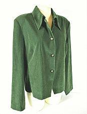 Buy DRESSBARN womens XL L/S green faux SUEDE button down unlined STRETCH jacket (L)P