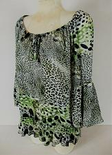 Buy DRESSBARN womens Large 3/4 sleeve black green ANIMAL PRINT elastic hem top (A)