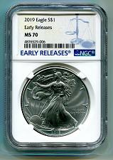 Buy 2019 AMERICAN SILVER EAGLE NGC MS70 NEW RELEASES BLUE LABEL, AS SHOWN PREMIUM PQ