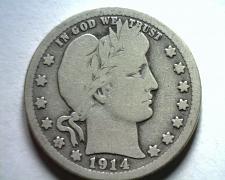 Buy 1914-D BARBER QUARTER DOLLAR GOOD / VERY GOOD G/VG NICE ORIGINAL COIN BOBS COINS