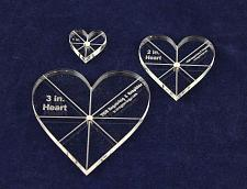 """Buy Heart Template 3 Piece Set. 1"""",2"""",3"""" - Clear 1/4"""" Thick w/ guidelines"""