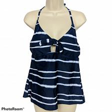 Buy NWT Kona Sol Center Front Tie Tankini Swim Top Large Blue White Striped Padded