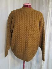 Buy Vintage Danier Unisex Mustard Brown 100% Wool Cable Knit Pullover Sweater M