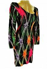 Buy Climate womens Medium 3/4 sleeve green pink purple SCOOP back stretch dress R)PM