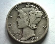 Buy 1929-S MERCURY DIME VERY FINE+ VF+ NICE ORIGINAL COIN BOBS COINS FAST SHIPMENT