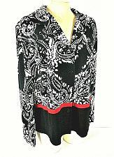 Buy Karin Stevens womens 14W L/S red black white SLIT back button down top (N)