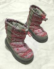 Buy Girls Lands End Winter Boots Size 10 Fabric printed Boots Gray and pink