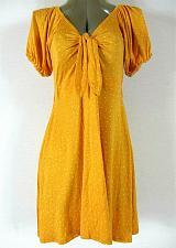 Buy LOVE, FIRE womens Medium S/S mustard KEYHOLE polka dot skater dress NWT (B5)P
