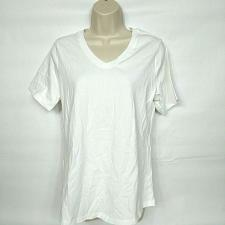Buy Denim & Co. Perfect Jersey Short-Sleeve Top Size Small Solid White V Neck