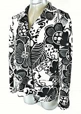 Buy CHICOS womens Sz 2 L/S black white FLORAL lined HIDDEN SNAP UP jacket (A2)PM