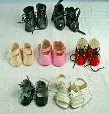 Buy Vintage Doll Shoe LOT of 7 Pairs Colored Shoes Black Red Pink White Sandals # 3