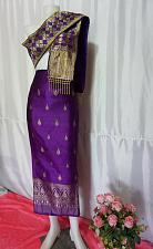Buy Purple Gold Lao Laos Synthetic Silk sinh Skirt Pha Bieng Tailor to your size