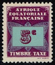 Buy French Equatorial Africa #J1 Numeral on Butterfly; Unused (1Stars) |FREJ01-01XVA