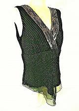 Buy Spenser Jeremy womens Large sleeveless black GOLD METALLIC sequins SILK top B6)P