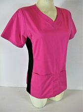 Buy SCRUBSTAR womens XS S/S pink black 2 POCKET stretch side panel scrub top (K)