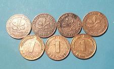 """Buy LOTE DE 7 MONEDAS DE 1 PFENNIG DE ALEMANIA CECA """"D"""" DE 1950"""