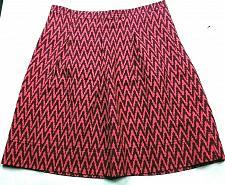 Buy Loft Women's A Line Pleated Skirt Size 4 Pink Brown Zig Zag Print Back Zip