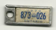 Buy War Amps Key Tag Fob 1970 License Plate Ontario 873 026 Vintage