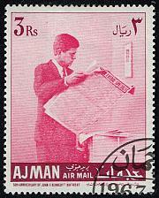 Buy Ajman Mi#148 Kennedy Reading Newspaper; CTO (4Stars) |AJM0148-01XRS