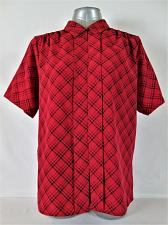 Buy FASHION ATTITUDES womens Sz 12 SHORT SLEEVE RED BLACK BUTTON DOWN TOP BLOUSE (P)