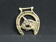 Buy Horse Brass Medallion SMALL Harness Horse Head Framed by Lucky Horseshoe VTG