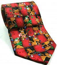 Buy NWT Hallmark Christmas Reindeer Red Ornaments Lights Novelty Silk Tie