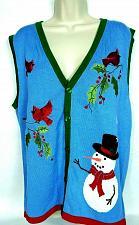 Buy NWT Alex Stevens Women's Christmas Sweater Vest Medium Snowman Cardinal