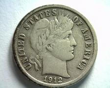 Buy 1912-D COOL REVERSE CUD IN WREATH BARBER DIME VERY FINE / EXTRA FINE VF/XF VF/XF