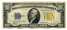 Buy 1934-A TEN DOLLAR NORTH AFRICA YELLOW SEAL SILVER CERTIFICATE VERY FINE+ VF+