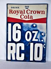 """Buy Vintage 1960s RC Royal Crown Cola 10c Bottle Soda Pop 39"""" Embossed Metal Sign"""