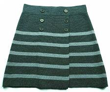 Buy Loft Womens A Line Petites Sweater Skirt Size XSP Pull On Gray Striped Buttons
