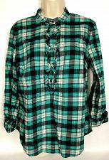 Buy Talbots Women's Popover Shirt Top Size 10 Teal Plaid Mock Neck Ruffles