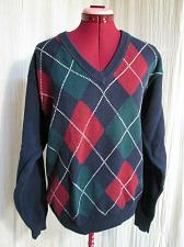 Buy Hunt Club Mens Cotton Argyle V Neck Sweater Blue Red Green S Vintage Golf