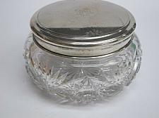 Buy Silver lid dresser box American Brilliant Period hand Cut Glass ANTIQUE sterling