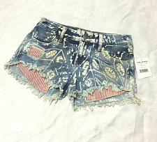 Buy Free People Indigo Cut Off Shorts Size 24 Blue White Print Denim Bleach Print
